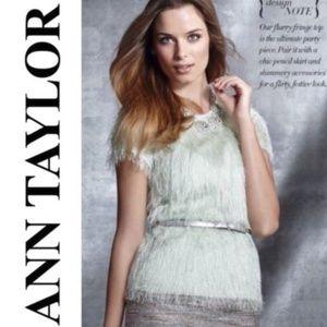 Ann Taylor Furry Fringe Top Mint Green Fuzzy 0 XS